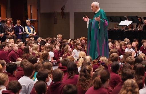 Father Staib at StMM School Mass